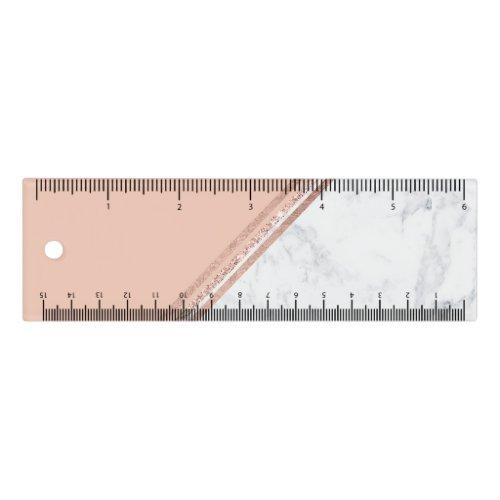 Rose gold glitter geometric stripes white marble ruler