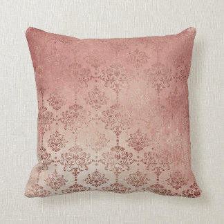 Rose Gold Glitter Glam Sparkle Damask Pillow