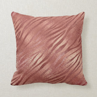 Rose Gold Glitter Glam Sparkle Zebra Pillow