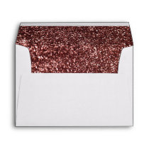 Rose Gold Glitter Glamour Wedding Envelope