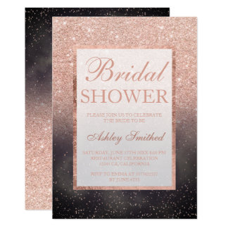 Rose gold glitter grey watercolor bridal shower card