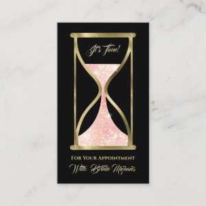 Rose Gold Glitter Hourglass Hair and Makeup Appointment Card