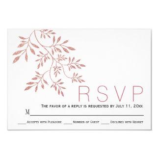 Rose gold glitter leaves modern wedding RSVP Card