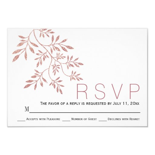 Rose gold glitter leaves modern wedding RSVP Card