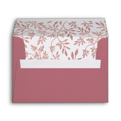 Rose gold glitter leaves pattern, initials wedding envelope