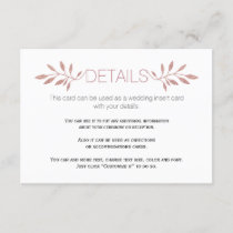 Rose gold  glitter leaves wedding insert card