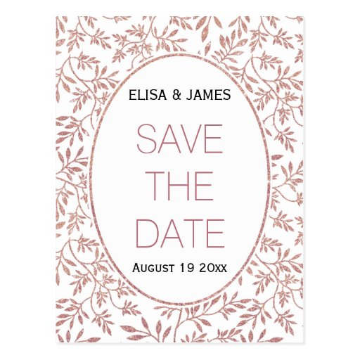 Rose gold glitter leaves wedding Save the Date Postcard