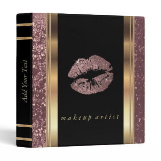 Rose Gold Glitter Lips and Metallic Gold Binder
