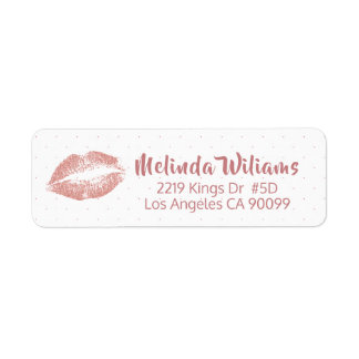 Rose-gold Glitter Lips & Dots pattern Label