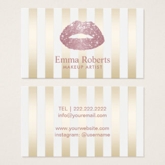 Rose Gold Glitter Lips Gold Stripes Makeup Artist Business Card
