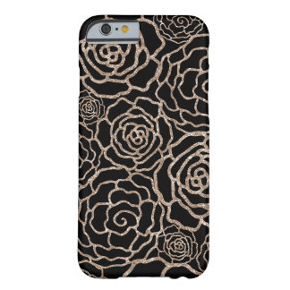Rose Gold Glitter Look | Black Floral Lattice Barely There iPhone 6 Case