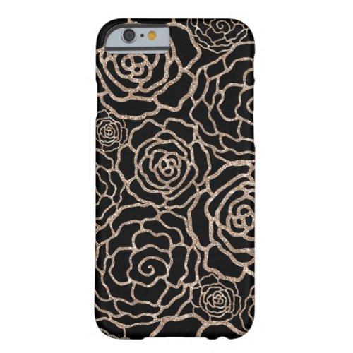 Rose Gold Glitter Look | Black Floral Lattice Phone Case