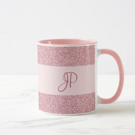 Rose Gold Glitter Look Template Monogram Trendy Mug