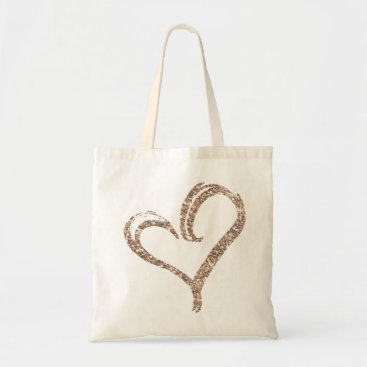girlygirlgraphics Rose Gold Glitter Love Heart Modern Wedding Tote