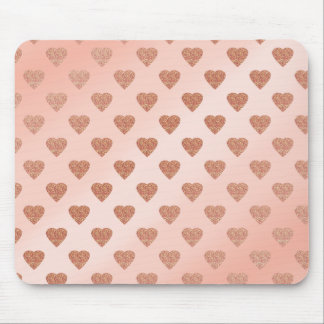 rose gold glitter love hearts polka dots pattern mouse pad