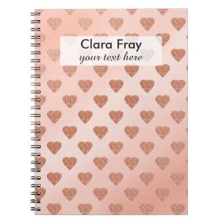rose gold glitter love hearts polka dots pattern notebook