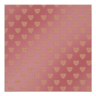 rose gold glitter love hearts polka dots pattern poster