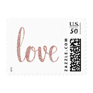 Rose gold glitter love stamps