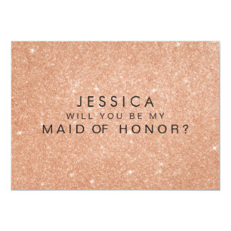 Rose Gold Glitter Maid of Honor Request Cards