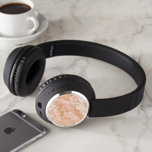 Rose gold glitter marble abstract headphones