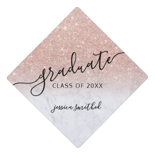 rose gold glitter marble chic typography graduate graduation cap topper