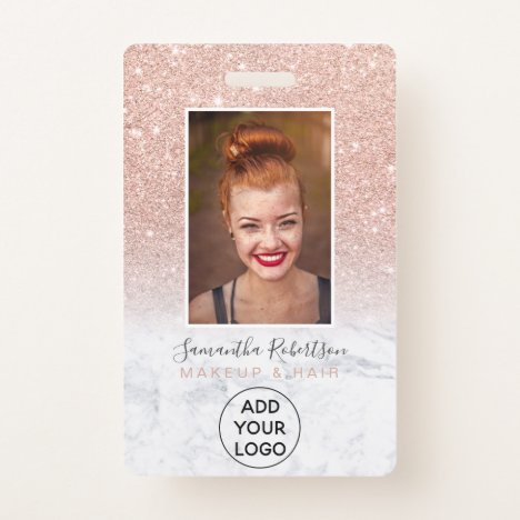 Rose gold glitter marble logo employee photo pass badge