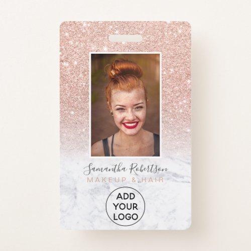 Rose gold glitter marble logo employee photo pass badge