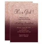 Rose gold glitter marsala ombre girl baby shower card