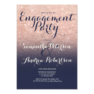 Rose gold glitter midnight blue engagement party invitation
