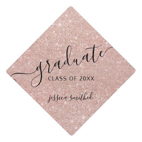 rose gold glitter modern chic typography graduate graduation cap topper