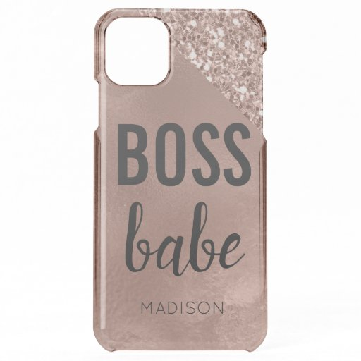 Rose Gold | Glitter Monogram Girly Pink Boss Babe iPhone 11 Pro Max Case