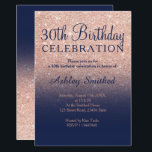 """Rose gold glitter navy blue ombre 30th birthday invitation<br><div class=""""desc"""">A modern,  original and simple faux rose gold glitter ombre 30th birthday invitation on a fully customizable navy blue color background. Thirtieth!</div>"""