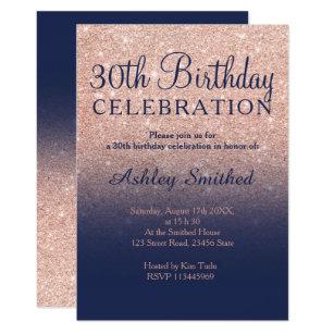 Rose Gold Glitter Navy Blue Ombre 30th Birthday Invitation