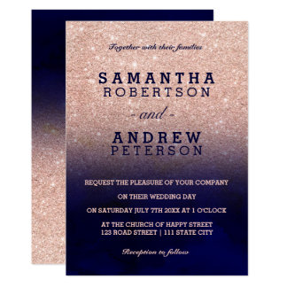 Rose gold glitter navy blue watercolor wedding invitation