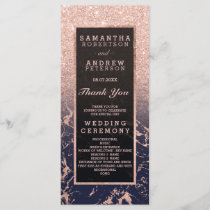 Rose gold glitter navy marble wedding program