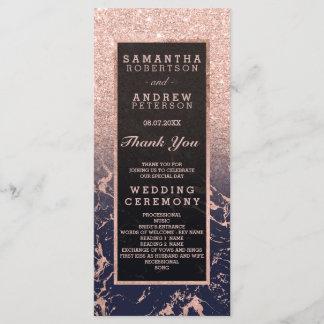 Rose gold glitter navy marble wedding program