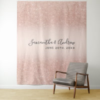 Rose gold glitter ombre blush wedding backdrop