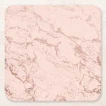 Rose gold glitter ombre foil blush pink marble square paper coaster