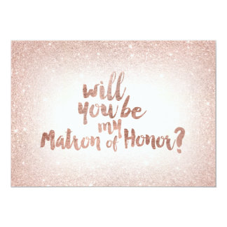 Rose gold glitter ombre matron of honor card