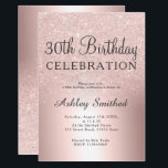 """Rose gold glitter ombre metallic 30th birthday invitation<br><div class=""""desc"""">A chic and luxurious rose gold glitter ombre metallic foil design with elegant calligraphy typography for a 30th birthday invitation .</div>"""