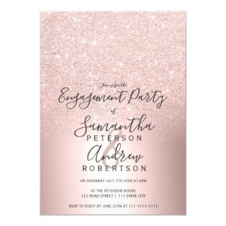 Rose gold glitter ombre metallic foil engagement invitation