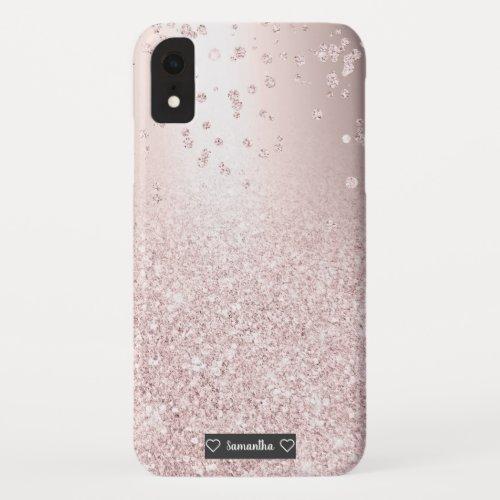 Rose gold glitter ombre metallic sparkles confetti Phone Case