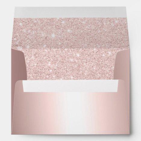 Rose gold glitter ombre metallic wedding address envelope