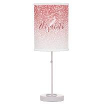 Rose Gold Glitter Ombre Modern Monogram Table Lamp