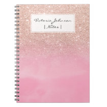 Rose gold glitter ombre pink pastel watercolor notebook