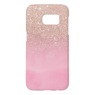 Rose gold glitter ombre pink pastel watercolor samsung galaxy s7 case