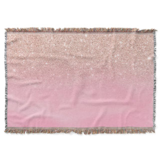 Rose gold glitter ombre pink pastel watercolor throw blanket
