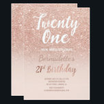 "Rose gold glitter ombre script chic 21st Birthday Invitation<br><div class=""desc"">Faux rose gold glitter ombre on blush pink 21st Birthday A modern 21st Birthday party invitation with modern, original and simple faux rose gold glitter invitatio and hand written style brush typography on a fully customizable pastel blush pink color background . If you need any text changed and customized don't...</div>"