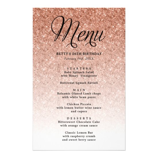 Rose Gold Glitter Party Menu