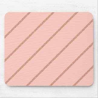 rose gold glitter pastel peach stripes pattern mouse pad